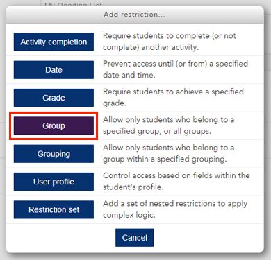 a screenshot of the restriction options available in an activity or resource in LEO