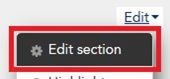 The Edit section option