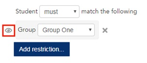 screenshots of the options available to you when you restrict access to an activity or resource via groups
