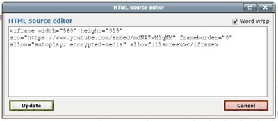 Embed code pasted into the HTML source window