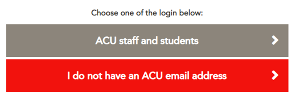displays ACU students and staff log in page