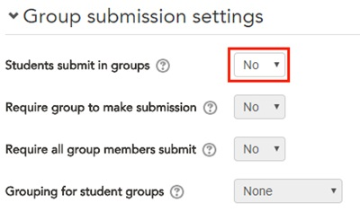 screenshot of the group submission options in an Assignment activity