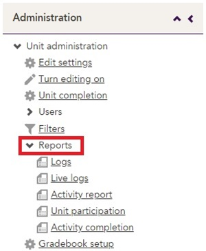 The report links under the Reports menu